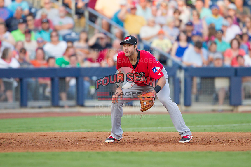 Frisco RoughRiders third baseman Joey Gallo (24) ready at third base during the Texas League game against the Tulsa Drillers at ONEOK field on August 15, 2014 in Tulsa, Oklahoma  The RoughRiders defeated the Drillers 8-2.  (William Purnell/Four Seam Images)