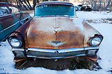 USA, Utah, old car in the snow, Glendale, Hwy 89,