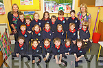 Pictured on their first day of school at Listellick  national school, Tralee on Friday Front from left: Phillip Traecy, Megan Cahill, Victoria Gombarczyk, Cian Harris, Caitlin O'Dowd, Almha Sheehan..Middle Row from left: Justin O'Connor, Sarah Havanagh, Meave Dwyer, Chloe O'Sullivan, Jerry Lynch and Paddy Daly..Back Row from left:Geraldine McKenna (SNA) Lilly May O'Gara, Shannon Moriarty, Saoirse O'Rahilly, Ciara Laide, Cameron Conway, Mark O'Connor, Roddy Clifford and Teacher Riona Ruane.