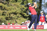 Ryan Moore (Team USA) on the 8th tee during the Friday afternoon Fourball at the Ryder Cup, Hazeltine national Golf Club, Chaska, Minnesota, USA.  30/09/2016<br /> Picture: Golffile | Fran Caffrey<br /> <br /> <br /> All photo usage must carry mandatory copyright credit (&copy; Golffile | Fran Caffrey)