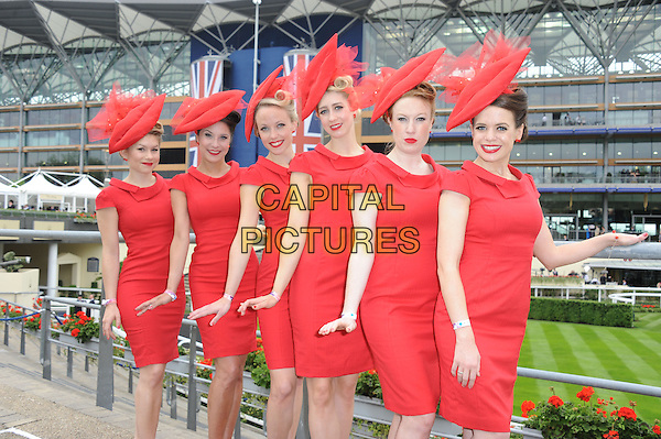 Hat Fashion<br /> Day one of Royal Ascot at Ascot Racecourse, Ascot, England.<br /> June 18th, 2013<br /> full length red dress 3/4 half<br /> CAP/DS<br /> &copy;Dudley Smith/Capital Pictures