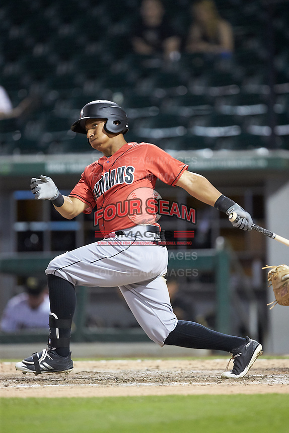 Christopher Bostick (7) of the Indianapolis Indians follows through on his swing against the Charlotte Knights at BB&T BallPark on May 26, 2018 in Charlotte, North Carolina. The Indians defeated the Knights 6-2.  (Brian Westerholt/Four Seam Images)