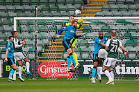 Alex Cairns and Cian Bolger of Fleetwood Town defend a cross during the Sky Bet League 1 match between Plymouth Argyle and Fleetwood Town at Home Park, Plymouth, England on 7 October 2017. Photo by Mark  Hawkins / PRiME Media Images.