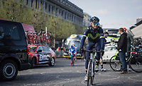 A relaxed Alejandro Valverde (ESP/Movistar team) riding to the race start<br /> <br /> 103rd Liège-Bastogne-Liège 2017 (1.UWT)<br /> One Day Race: Liège › Ans (258km)