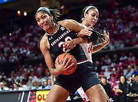 College Park, MD - NOV 13, 2017: South Carolina Gamecocks forward A'ja Wilson (22) fights Maryland Terrapins forward Stephanie Jones (24) for a rebound during game between No. 4 ranked South Carolina and the No. 15 Maryland Terrapins at the XFINITY Center in College Park, MD. The Gamecocks defeated Maryland 94-86.  (Photo by Phil Peters/Media Images International)