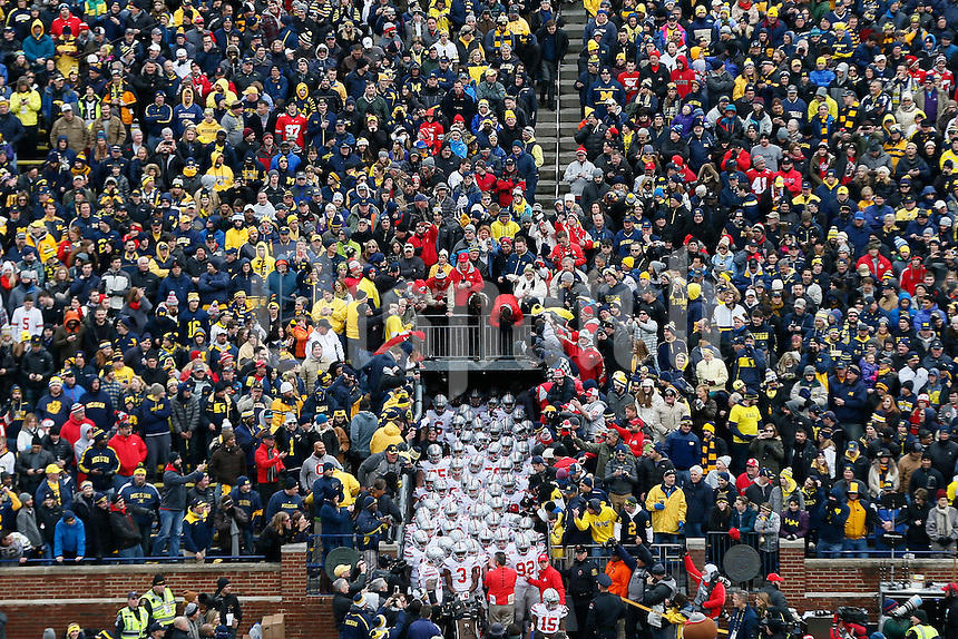 The Ohio State Buckeyes get ready to take the field before the college football game between the Michigan Wolverines and the Ohio State Buckeyes at Michigan Stadium in Ann Arbor, Saturday afternoon, November 28, 2015. The Ohio State Buckeyes defeated the Michigan Wolverines 42 - 13. (The Columbus Dispatch / Eamon Queeney)