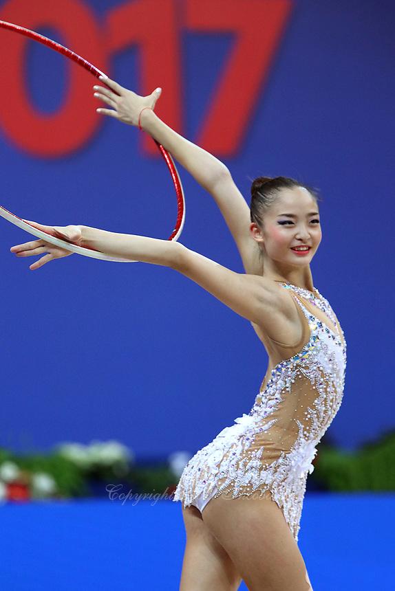 September 1, 2017 - Pesaro, Italy - KAHO MINAGAWA of Japan performs during AA final at 2017 World Championships.