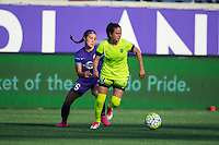 Orlando, Florida - Sunday, May 8, 2016: Seattle Reign FC defender Lauren Barnes (3) turns away from Orlando Pride midfielder Samantha Witteman (26) during a National Women's Soccer League match between Orlando Pride and Seattle Reign FC at Camping World Stadium.
