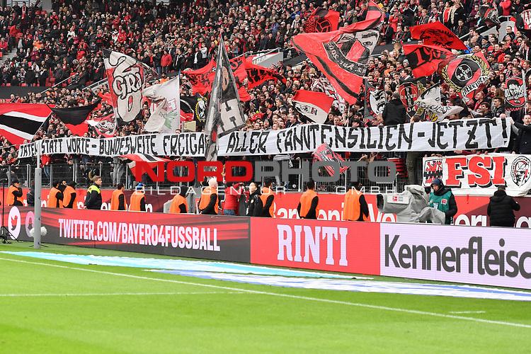 28.01.2018, BayArena, Leverkusen, GER, 1.FBL, Bayer 04 Leverkusen vs FSV Mainz 05,, im Bild Fankurve / Fans / Fanblock / Transparent<br /> <br /> <br /> Foto &copy; nordphoto / Mauelshagen