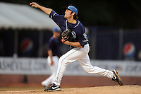Asheville Tourists starting pitcher Chris Jensen #30 delivers a pitch during game three of the South Atlantic League, Southern Division playoffs against the Rome Braves at McCormick Field on September 8, 2012 in Asheville, North Carolina . The Tourists defeated the Braves 4-3. (Tony Farlow/Four Seam Images).