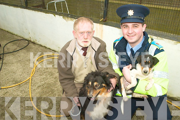 WARNING: Harry McDaid, KSPCA and Garda Paul Howard warning dog owners to be careful when letting their dogs loose following a spate of pedigree dog thefts in Kerry over the last couple of months.