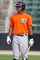 Mychal Givens #11 of the Delmarva Shorebirds during batting practice prior to the game against the Kannapolis Intimidators at Fieldcrest Cannon Stadium on May 20, 2011 in Kannapolis, North Carolina.   Photo by Brian Westerholt / Four Seam Images