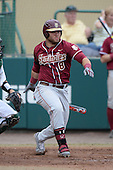 Florida State Seminoles outfielder DJ Stewart (8) during a game against the South Florida Bulls on March 5, 2014 at Red McEwen Field in Tampa, Florida.  Florida State defeated South Florida 4-1.  (Copyright Mike Janes Photography)