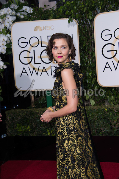 Maggie Gyllenhaal, presenter, arrives at the 73rd Annual Golden Globe Awards at the Beverly Hilton in Beverly Hills, CA on Sunday, January 10, 2016. Photo Credit: HFPA/AdMedia