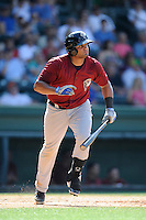 Third baseman Nelfi Zapata (28) of the Savannah Sand Gnats bats in a game against the Greenville Drive on Sunday, June 22, 2014, at Fluor Field at the West End in Greenville, South Carolina. Greenville won, 7-3. (Tom Priddy/Four Seam Images)