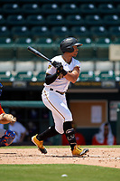 Bradenton Marauders Cal Mitchell (34) bats during a Florida State League game against the St. Lucie Mets on July 28, 2019 at LECOM Park in Bradenton, Florida.  Bradenton defeated St. Lucie 7-3.  (Mike Janes/Four Seam Images)