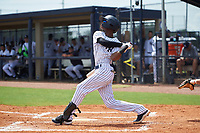 GCL Yankees East Alexander Vargas (12) bats during a Gulf Coast League game against the GCL Phillies East on July 31, 2019 at Yankees Minor League Complex in Tampa, Florida.  GCL Yankees East defeated the GCL Phillies East 11-0 in the first game of a doubleheader.  (Mike Janes/Four Seam Images)