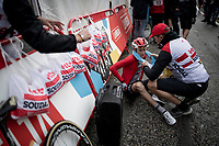 Carl Fredrik Hagen (NOR/Lotto-Soudal) after finishing the stage where the weather turned foul in the finale<br /> <br /> Stage 9: Andorra la Vella to Cortals d'Encamp (94km) - ANDORRA<br /> La Vuelta 2019<br /> <br /> ©kramon