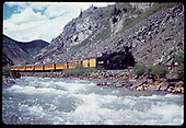 &quot;276-25 South of Silverton, the train enters the canyon on the Southbound trip.&quot;<br /> D&amp;RGW    Taken by Owen, Mac - 6/1975