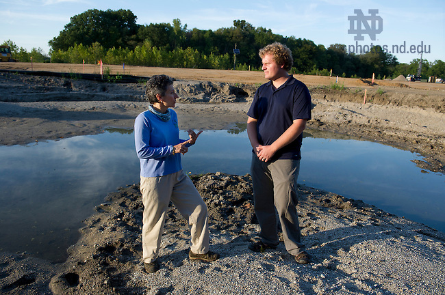 September 11, 2012; Evie Kirkwood, director of St. Joseph County Parks and Brett Peters, ND-LEEF assistant director at the Notre Dame Linked Experimental Ecosystem Facility construction site at St. Patrick's County Park. Photo by Barbara Johnston/University of Notre Dame
