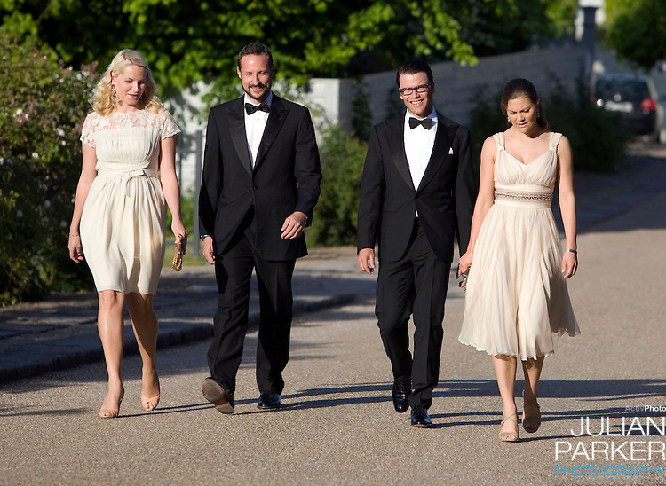 Crown Prince Haakon, and Crown Princess Mette Marit of Norway, and Crown Princess Victoria of Sweden with boyfriend Daniel Westling arrive for a Dinner Party at Fredensborg Palace, in Denmark, to celebrate Crown Prince Frederiks 40th Birthday. Crown Prince Frederik turned 40 on May 26th