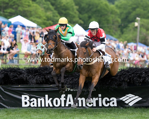 Chess Board, left, and Class Classic duel over the last in the Bright Hour Amateur Hurdle at Iroquois. Chess Board prevailed, and was one of three winners on the card for Darren Nagle and Irv Naylor.