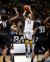 Layshia Clarendon of California shoots the ball during the game against Stanford at Haas Pavilion in Berkeley, California on January 8th, 2013.  Stanford defeated California, 62-53.