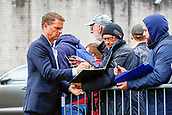 10th September 2017, Turf Moor, Burnley, England; EPL Premier League football, Burnley versus Crystal Palace; Crystal Palace Manager Frank de Boer sign autographs outside the stadium prior to the game