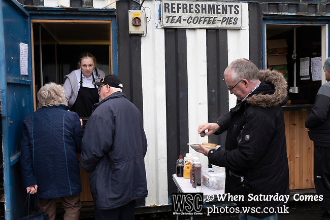 Atherton Collieries 1, Boston United 0, 23/11/19. Alder House, FA Trophy, third qualifying round. Supporters at the refreshment kiosk before Atherton Collieries played Boston United in the FA Trophy third qualifying round at the Skuna Stadium. The home club were formed in 1916 and having secured three promotions in five season played in the Northern Premier League premier division. This was the furthest they had progressed in the FA Trophy and defeated their rivals from the National League North by 1-0, Mike Brewster scoring a late winner watched by a crowd of 303 spectators. Photo by Colin McPherson.