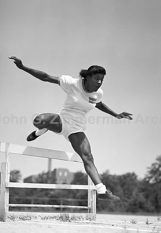 Evelyn Lawler (1929-) Hurdler, sprinter and high jumper on Tuskegee Women's Track and Field Team, 1952, Tuskegee Alabama. Lawler is the mother of legendary track and field star Carl Lewis. CREDIT: © John G. Zimmerman Archive.