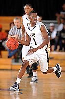 21 January 2012:  FIU guard Deric Hill (1) handles the ball in the second half as the Florida Atlantic University Owls defeated the FIU Golden Panthers, 66-64, at the U.S. Century Bank Arena in Miami, Florida.