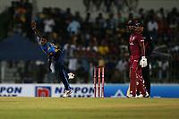 February 26th 2020,the Mahinda Rajapaksha International Stadium, Hambantota, Sri Lanka; One Day International cricket, Sri Lanka versus West Indies; Lakshan Sandakan bowling