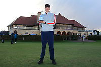 Thomas Higgins (Roscommon) winner of the Ulster Boys Championship at Portrush Golf Club, Valley Links, Portrush, Co. Antrim on Thursday 1st Nov 2018.<br /> Picture:  Thos Caffrey / www.golffile.ie<br /> <br /> All photo usage must carry mandatory copyright credit (&copy; Golffile | Thos Caffrey)