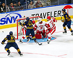 January 26, 2020:  Intense action in front of Sacred Heart goalie Josh Benson as the Pioneers upset 17th ranked Quinnipiac 4-1 in the Connecticut Ice Tourney. The inaugural event was held at the Webster Bank Arena in Bridgeport, Connecticut.  Heary/Eclipse Sportswire/CSM