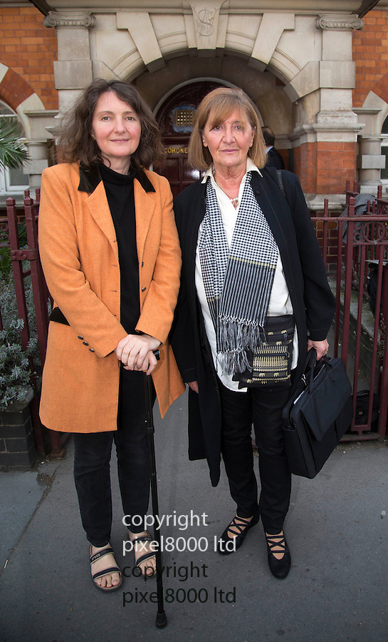 Pics shows;  family of  former model Eva Rhodes murdered  in Hungary --<br /> Her sister Judith Majlath right and, <br /> daughter  of Eva Rhodes,  Sophia Barta left with walking stick<br /> <br /> <br /> Inquest today in the death of the former model in Hungary <br /> at Westminster Coroners' Court London<br /> <br /> Daughter of former beauty queen and London socialite Eva Rhodes believes a Hungarian policeman had a motive for her murder, an inquest heard<br /> <br /> The daughter of former British model Eva Rhodes believes a Hungarian policeman had a motive to get rid of her mother and organised her murder with the man convicted of the killing, an inquest heard.<br /> <br /> <br /> Mrs Rhodes, a friend of John Lennon, disappeared in September 2008 and was originally classed as a &ldquo;missing person&rdquo; despite her relatives saying she had been robbed and murdered. Her body was found in woods near her home near Gyor, 65-miles from Budapest in 2009, and her caretaker Csaba Augusztinyi admitted killing her<br /> <br /> <br /> <br /> <br /> Pic by Pixel 8000 Ltd