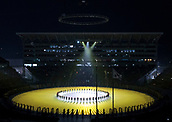 9th February 2018, Pyeongchang, South Korea; 2018 Winter Olympic Games; Opening Ceremony at PyeongChang Olympic Stadium; A light show in the centre of the Olympic Stadium during the Opening Ceremony