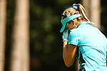 Lexi Thompson reacts disbelief after her tee shot on the 9th tee at the LPGA Championship 2014 Sponsored By Wegmans at Monroe Golf Club in Pittsford, New York on August 17, 2014