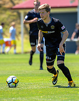Andy Bevin in action during the ISPS Handa Premiership football match between Team Wellington and Wellington Phoenix Reserves at David Farrington Park in Wellington, New Zealand on Sunday, 7 January 2018. Photo: Dave Lintott / lintottphoto.co.nz