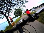 Biking along John Nolan Drive in Madison, Wisconsin.