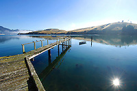 Seagulls on the jetty at Portobello, looking across to Port Chalmers