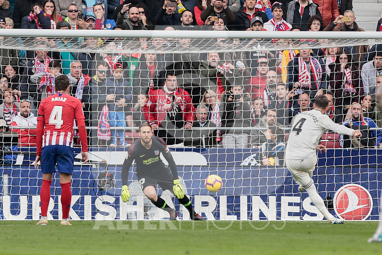 Atletico de Madrid's Jan Oblak and Real Madrid's Sergio Ramos seen in action during La Liga match between Atletico de Madrid and Real Madrid at Wanda Metropolitano Stadium in Madrid, Spain. February 09, 2019. (ALTERPHOTOS/A. Perez Meca)