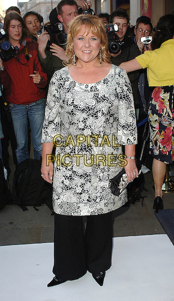 WENDI PETERS.attending the LK High Street Fashion Awards, Cafe de Paris, London, England, 14th May 2007..full lnegth dress over trousers black and white floral patterned print top.CAP/BEL.©Tom Belcher/Capital Pictures.