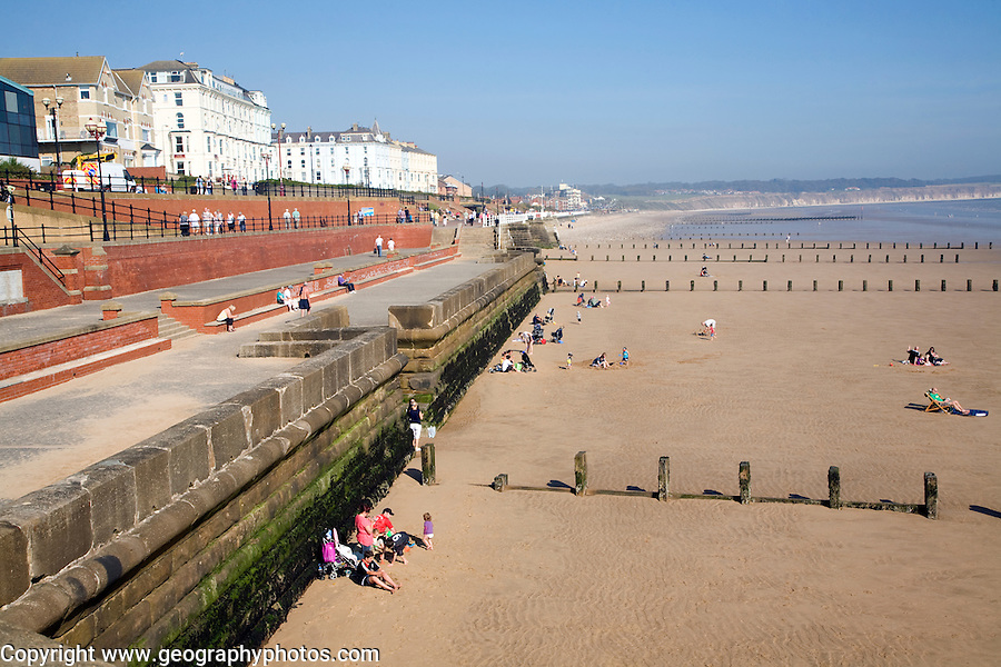 Seafront promenade, hotels, sea wall, beach, Bridlington, Yorkshire, England