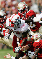 TALLAHASSEE, FL 10/31/09-FSU-NCST FB09 CH41-Florida State's defense smothers N.C. State's Clem Johnson during second half action Saturday at Doak Campbell Stadium in Tallahassee. The Seminoles beat the Wolf Pack 45-42..COLIN HACKLEY PHOTO