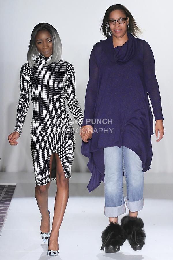Fashion designer Kelly Hawkins (right) walks runway at the close of her Kelly Hawkins Fall 2016 collection fashion show, at the Emerging Designers Fall 2016 show, at Fashion Gallery New York Fashion Week Fall Winter 2016, during New York Fashion Week Fall 2016.