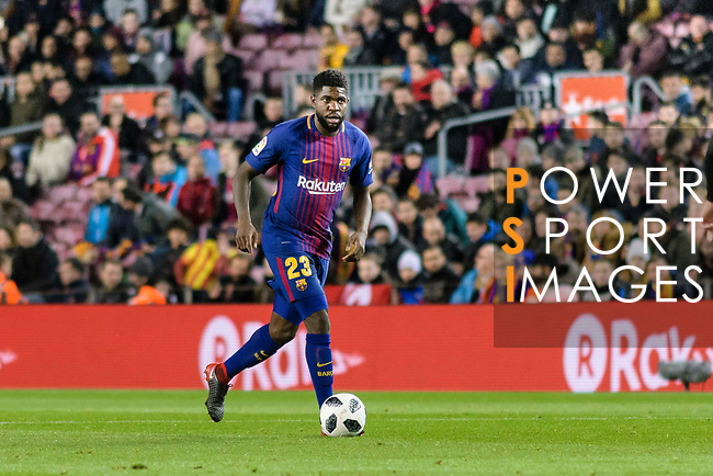 Samuel Umtiti of FC Barcelona in action during the Copa Del Rey 2017-18 match between FC Barcelona and Valencia CF at Camp Nou Stadium on 01 February 2018 in Barcelona, Spain. Photo by Vicens Gimenez / Power Sport Images