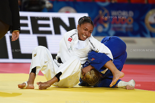 (L-R) Erika Miranda (BRA), Darya Skrypnik (BLR), AUGUST 25, 2015 - Judo : World Judo Championships Astana 2015 Women's -52kg quarterfinal at Alau Ice Palace in Astana, Kazakhstan. (Photo by AFLO SPORT)