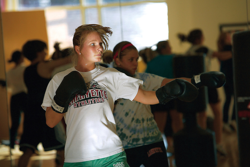 Lafayette College students enjoy an intramural event ofKick Boxing in the college sports center on Tuesday September 27th,2006.  Here Julia Smith goes through the routine of the class