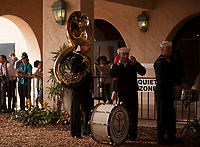 DEL MAR, CA - NOVEMBER 03: Members of the Navy band wait in the tunnel for ceremonies on Day 1 of the 2017 Breeders' Cup World Championships at Del Mar Thoroughbred Club on November 3, 2017 in Del Mar, California. (Photo by Carson Dennis/Eclipse Sportswire/Breeders Cup)