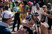 "Laurens ten Dam (NED/Sunweb) spurring the fans on coming through ""Dutch Corner"" (#7) on Alpe d'Huez<br /> <br /> Stage 12: Bourg-Saint-Maurice / Les Arcs > Alpe d'Huez (175km)<br /> <br /> 105th Tour de France 2018<br /> ©kramon"